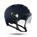 Urban cycle helmet with visor and synthetic leather chinstrap - URBAN R